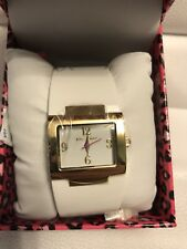 Betsey Johnson Watch White Gold Bangle Cuff Dead Battery Box MSRP $95 NEW