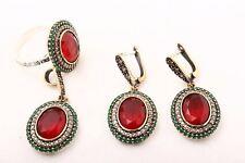 Kosem! Turkish Jewelry Ruby Emerald Nice 925 Sterling Silver Set Ring Size 8.5