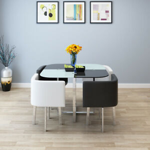 Tempered Paint Black & White Glass Dining Table Cafe Table & 4 Chairs Set Home