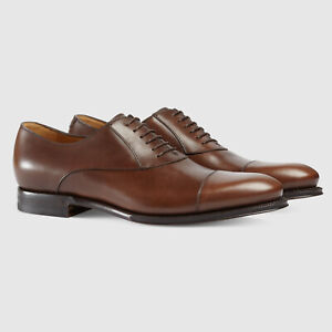 GUCCI SHOES MENS BROGUE LEATHER OXFORD SPIRIT COCOA $940 sz 9.5 US 10 / 43.5
