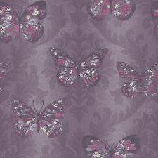 New Arthouse Midsummer Plum Butterfly Glitter Wallpaper - 661205