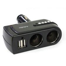 2 USB Charger Supply+2 Socket Car Cigarette Lighter Extender Splitter Black HOT