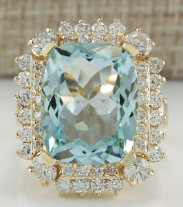 9.28 Carat Genuine Aquamarine 14K Solid Yellow Gold Luxury Diamond Ring