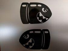 "4 pack N64 SNES NES Mario Bullet Bill Gloss Black Decal Sticker 7"" x 4"" 1/2"