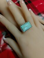 VINTAGE 925 EXTRA Large Sterling Silver Turquoise Ring