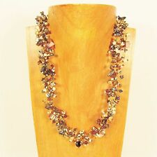 """22"""" Gold Multi Color Stone Shell Chip Handmade Seed Bead Necklace FREE SHIPPING!"""