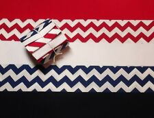 "10 2.5"" Jelly Roll Quilting Fabric Strips Red White & Blue Chevron"
