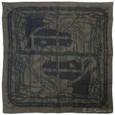 "§§§ Chale shawl cachemire soie Cashmere Silk Hermès neuf  "" Quadricube "" §§§"