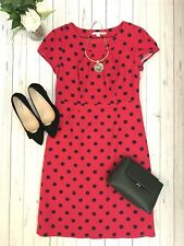 Boden Size 12 R pink spotty smart occasion dress cotton tea party