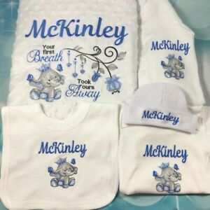 Personalised Baby Set With Blanket, Vest, Bib, Grow And Hat