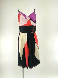 Emilio Pucci 100% Silk Black, Red & Pink Abstract Print Dress - UK 8