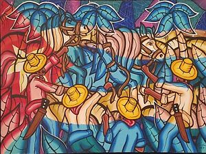 Carlos Eric Untitled Acrylic on Canvas 30X40 Original Painting Cuban Art 2003