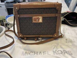 Michael Kors Theodora Trunk EW Crossbody Bag Brown Logo w Luggage Croc Embossing