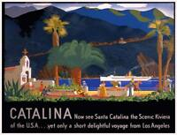 CATALINA Vintage California Travel Poster CANVAS ART PRINT 30x24 in.
