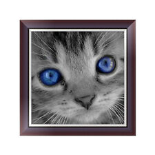 DIY 5D Diamond Embroidery Painting Blue Eyes Cat Cross Stitch Craft Home Decor
