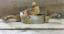 Tom Balding Spurs - Mens Stainless Finish with Brass Floral - Equine Tack