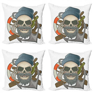 Ambesonne Anchor Nautical Cushion Cover Set of 4 for Couch and Bed in 4 Sizes