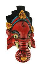 Zeckos Hand Crafted Wooden Ganesha Mask Wall Decor
