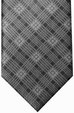 NEW BRIONI SILVER GRAY TONES FANCY PLAID 100% SMOOTH SILK NECK TIE
