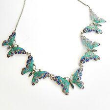 Plique a Jour Enamel Topaz Butterfly Necklace Solid Silver