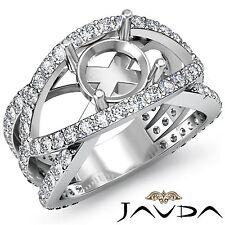 Round Semi Mount Halo Pave Set Platinum 1.2Ct Diamond Engagement Designer Ring