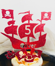 Pirate Party - Hand Crafted - Pirate Ship Cake Topper -Personalized Name and Age