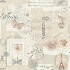 Vintage Shabby Chic Paris Wallpaper Natural 665400 Free Postage