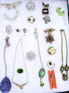 VTG Jewelry Victorian 20s Jade Deco Estate Egyptian Revival 20 PC Lot Sterling