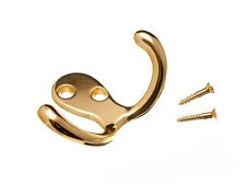 NEW TWIN HAT AND ROBE COAT HANGER CLOTHES HOOK BRASS PLATED AND SCREWS (PACK OF