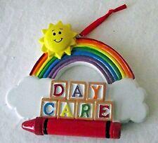 """Teacher Day Care Christmas Ornament Rainbow Crayon Sun Colors 2D Holiday 4"""" NEW"""