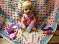 2008 Baby Alive- Better Now Baby Doll w/ stethoscope, thermometer & Accessories