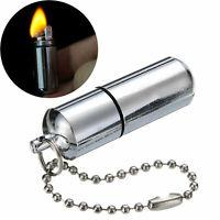 Waterproof Gear Fire Stash Survival Lighter Keyring Camping Pocket Key Chain Kit
