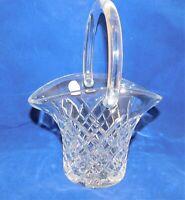 Galway Irish Crystal Vase Basket-Shape Diamond Cut Czech Leaded Glass