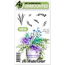 New ART IMPRESSIONS RUBBER STAMP Cling Watercolor Foliage SET 2  NEW