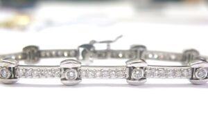 Fine Bezel Set Diamond Tennis Bracelet White Gold 14KT 2.82Ct