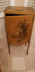 Wooden Cabinet with Hand Painted Gypsy Girl