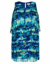 Autograph shimmer TEAL LAYERED CHIFFON overlay DRESS Size 16 retail $99.99