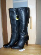 New FIORE Black Leather Knee High Womens Boots UK-6  EU-39 (made in Brazil)
