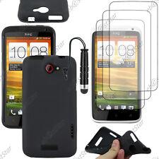 Housse Etui Coque Silicone Gel Noir HTC One X + Mini Stylet + 3 Film écran