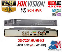 HIKVISION 4K 4CH DVR HYBRIB 4 IN 1 + 4 IP CHANNELS DS-7204HUHI-K2 H.265+ 2xSATA