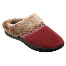 Isotoner Womens Microsuede Fur Memory Foam Hoodback Mule Clog Slipper House Shoe