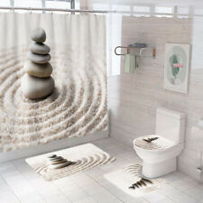 Stones Shower Curtain Set Thick Bathroom Rugs Bath Mat Non-Slip Toilet Lid Cover