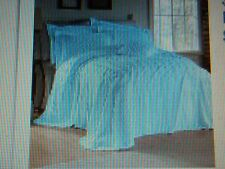 New KING Size Bedspread & Shams *** Chenille Cotton Blue Silva
