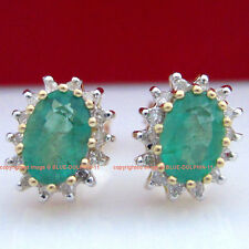 Real Genuine Natural 0.9ct Emeralds Diamonds Solid 9ct Yellow Gold Stud Earrings