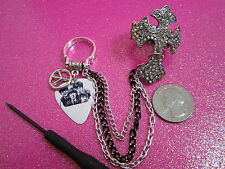The Beatles Two Finger Guitar Pick Rings With Chains 8.5 and Stretch Ring