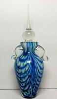 Hand Blown Art Glass Perfume Bottle Tall Dauber Cobalt Blue Swirl Green Speckle