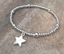 Silver Ball Beaded Star Charm Bracelet, Simple, Stackable
