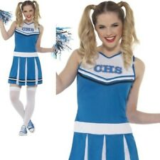 Cheerleader Costume Ladies Cheerleading Fancy Dress Outfit + Pom Poms XS-L