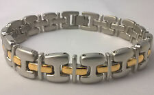 G-Filled Men's 18kt white and yellow gold two tone bracelet Gents 7 inch H links