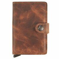SECRID - Secrid Mini wallet Genuine Leather Cognac RFID Safe Card Case for...